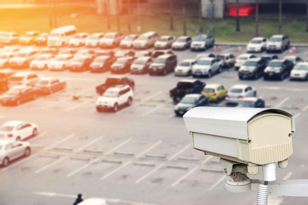 CCTV systems monitoring a car park