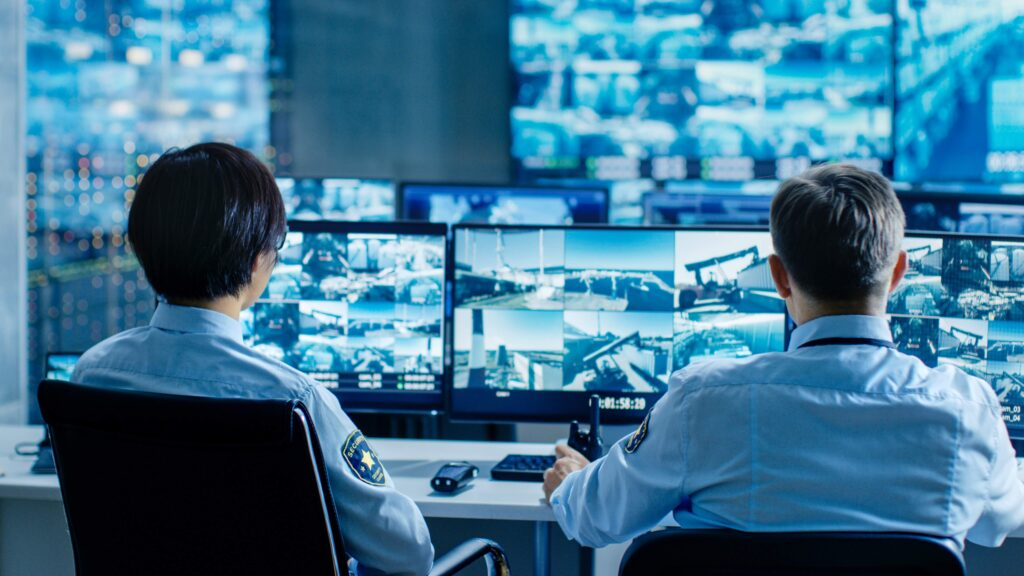 CCTV footage being monitored at a CCTV monitoring station